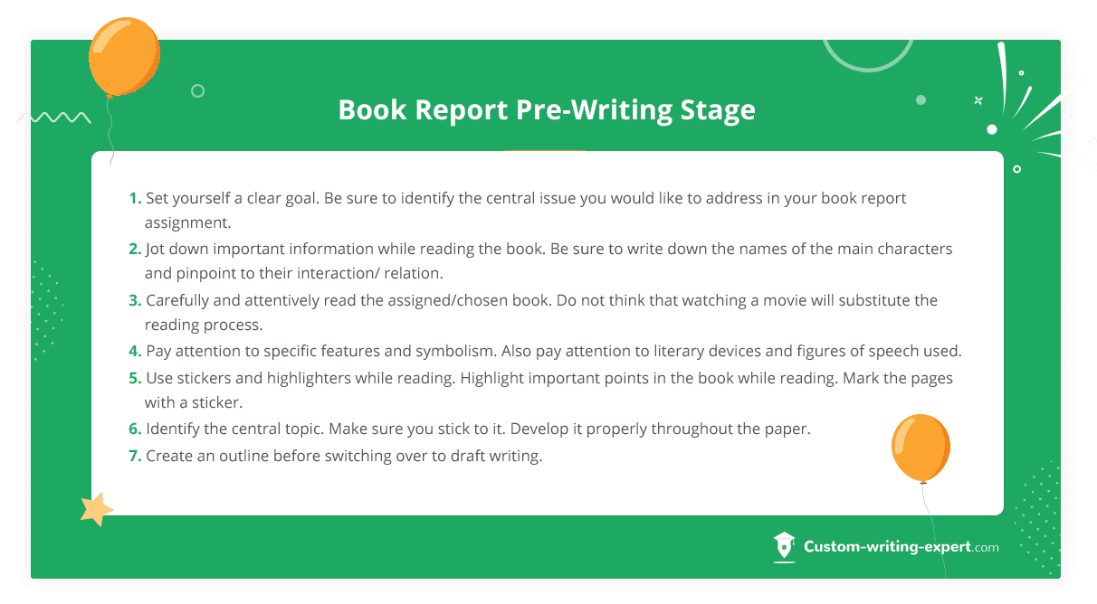 Book Report Pre-Writing Stage
