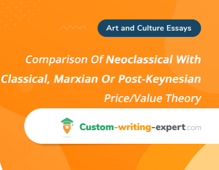Comparison Of Neoclassical With Classical, Marxian Or Post-Keynesian Price/Value Theory